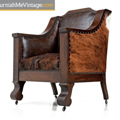 Antique Hand-Made Empire Leather Thrown Chair