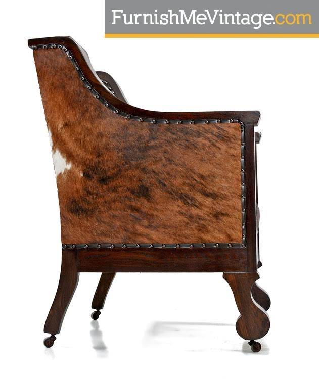 Hand Made,antique,empire,thrown Chair,cowhide,leather