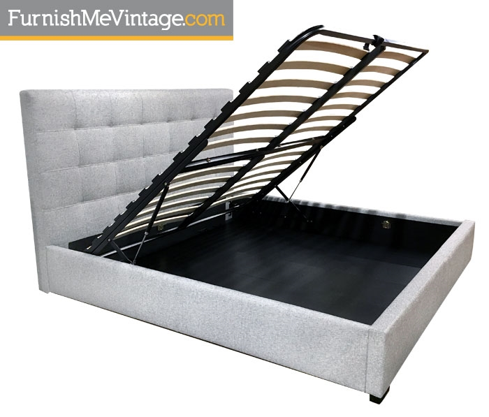 Modern gray tufted platform bed with storage