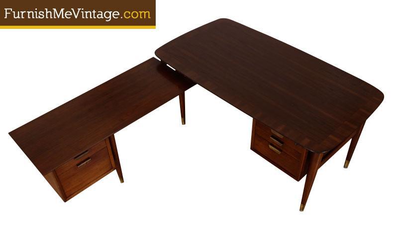 Mid Century Modern L Shaped Executive Desk