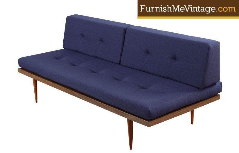 Restored mid century modern blue daybed sofa