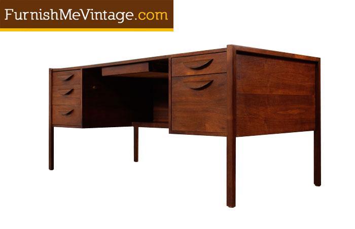 Mid Century Modern Walnut Executive Desk