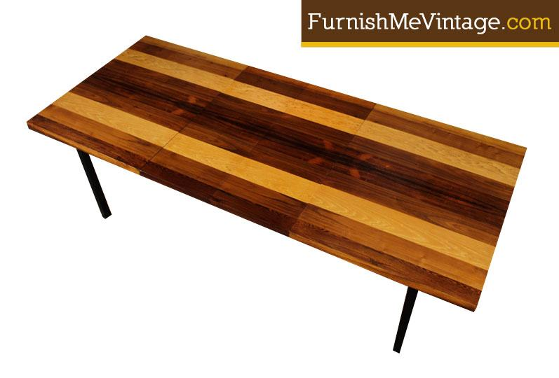 9cef78b29057a Milo Baughman Rosewood Hickory and Walnut Dining Table
