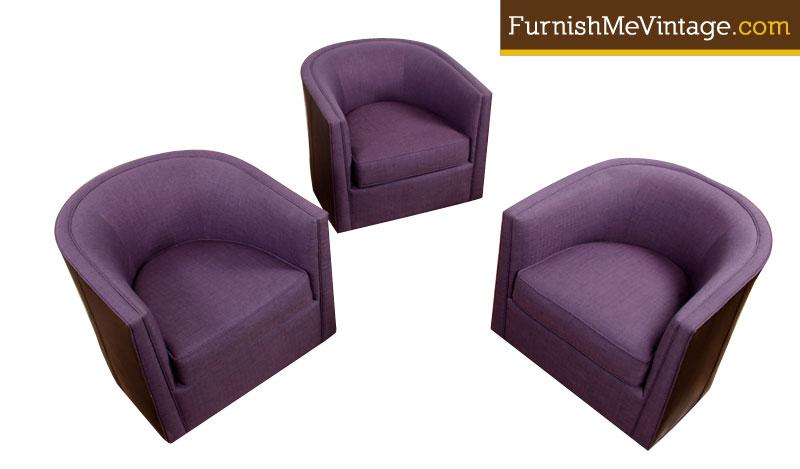 Astounding Custom Made Violet And Leather Barrel Chairs Beatyapartments Chair Design Images Beatyapartmentscom