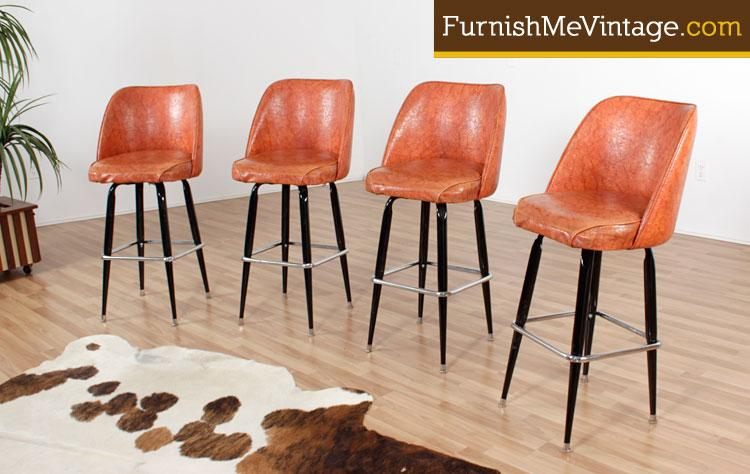 vintage 1970s orange bar stools (16 available) 1970s Bar Stools