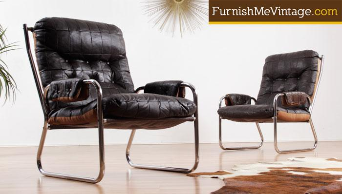pair of mid century modern leather and chrome chairs