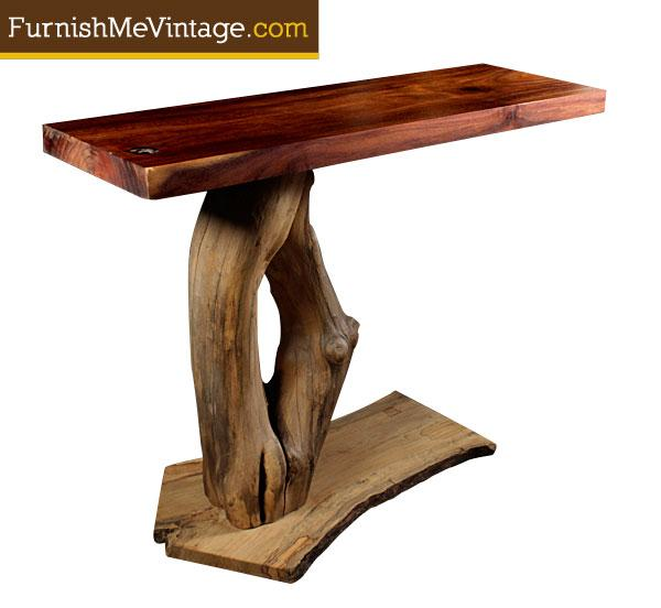 Large Vintage Monkey Pod Wood Slab Coffee Table: Funktionhouse Monkeypod Console Table