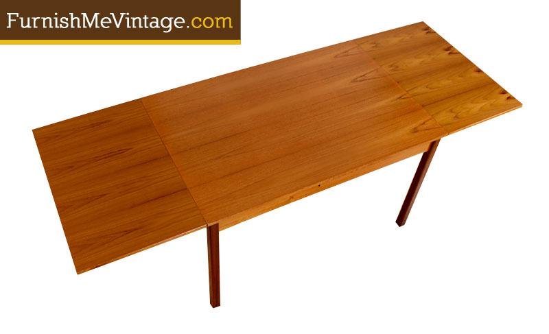 Refinished Vintage Teak Draw Leaf Dining Table - Teak dining table with leaf