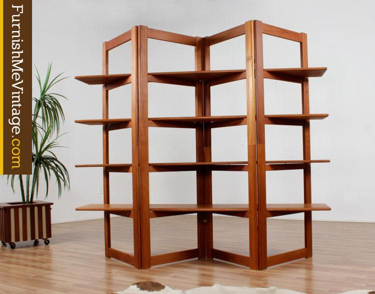 Used contemporary teak room divider bookcase