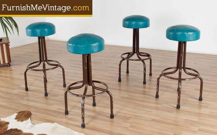 Vintage Teal Vinyl Industrial Bar Stools 3 Available