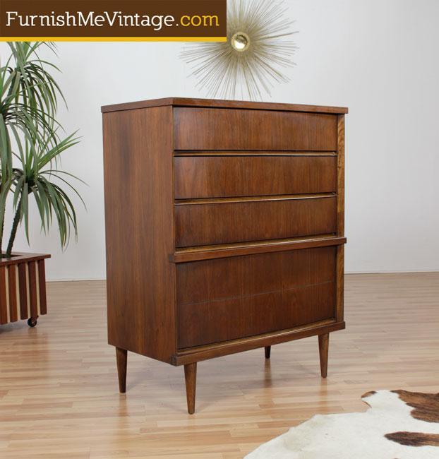 Mid century modern Bassett high boy dresser with blanket chest