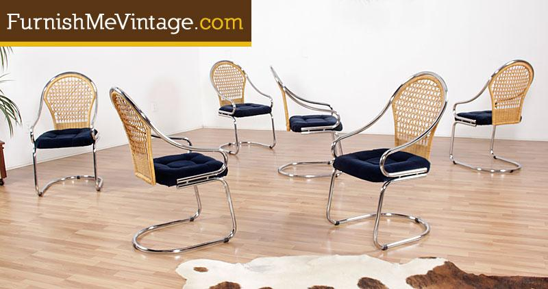 Excellent Set Of Six Vintage Chrome And Wicker Dining Chairs Ocoug Best Dining Table And Chair Ideas Images Ocougorg