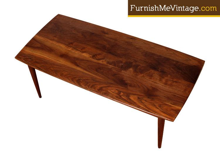 Refinished Small Walnut Mid Century Modern Coffee Table