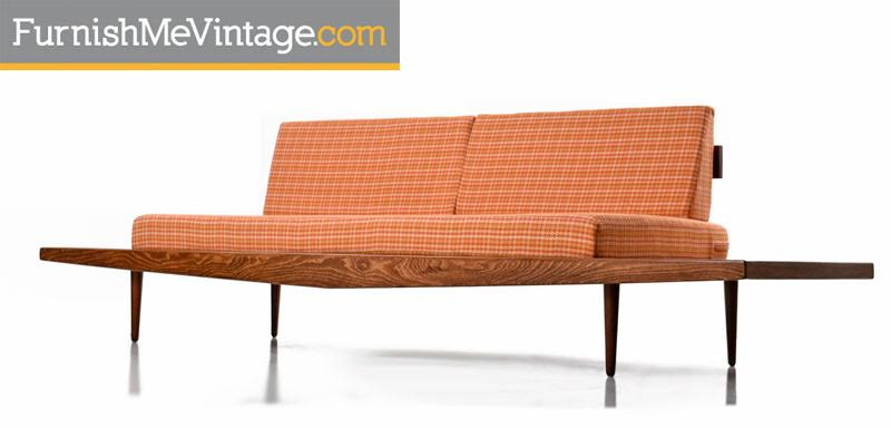 Adrian Pearsall Style Oak Daybed Sofa With Floating End Tables, Circa 1960's
