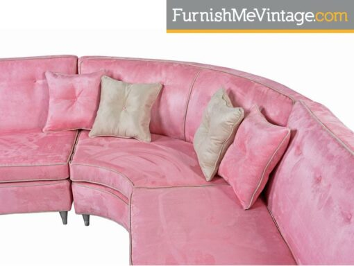 Pink Microsuede Sectional Sofa & Coffee Table