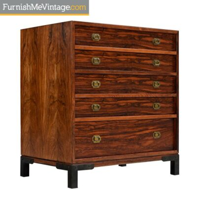Rosewood and Brass Accent Asian Modern Chest or Commode Dresser
