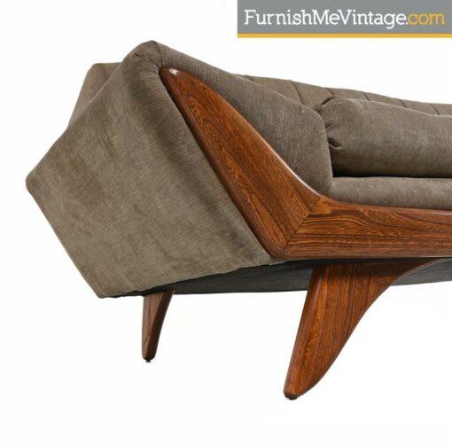 Restored Adrian Pearsall Oak Accent Gondola Sofa Couch, circa 1960s