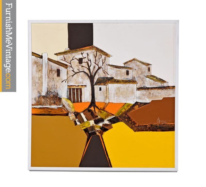 Frank Walcutt Signed Abstract Modern Southwestern Architectural Art Oil Painting