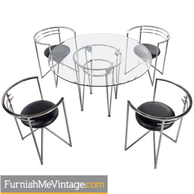 Neo Deco Chrome Dining Set by Minson of California Circa 1980's