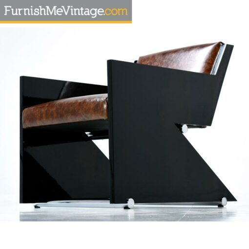 Z Lounge Chair - Black Lacquer Post Modern Leather and Chrome