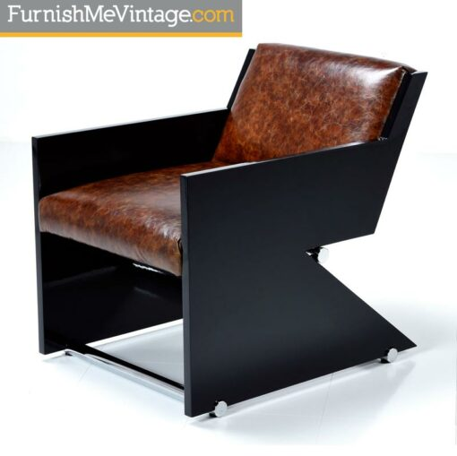 Postmodern Z Shaped Armchair Leather and Chrome