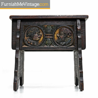 Antique 19th Century Joint-Stool with Carved Medallions