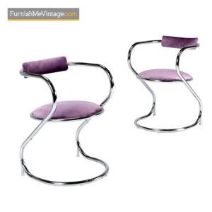 Hollywood Regency Chrome Side Chairs – New Lavender Velvet