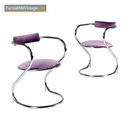 Hollywood Regency Chrome Chairs - New Lavender Velvet