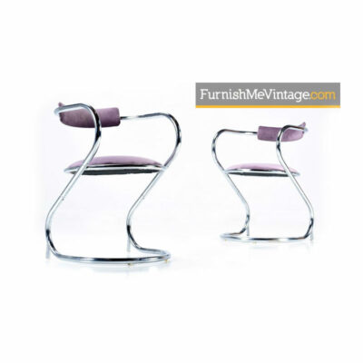 lavender chrome arm chairs