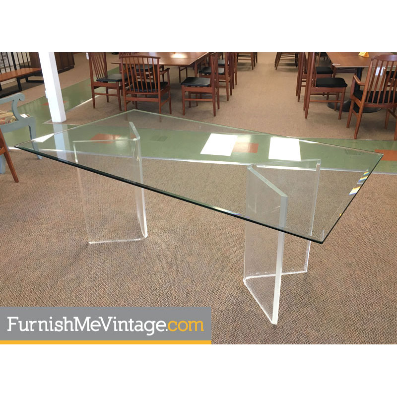 Lucite Dining Table With Gl Top