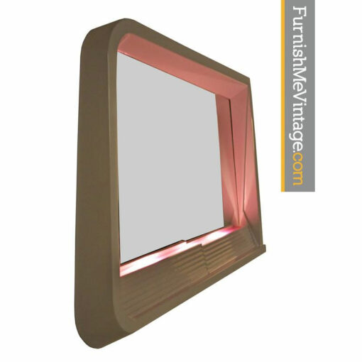 Futuristic Light Up Memphis Style Neo Deco White and Pink 1980s Mirror