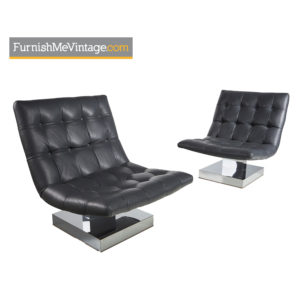Milo Baughman Gray Leather and Chrome Scoop Chairs