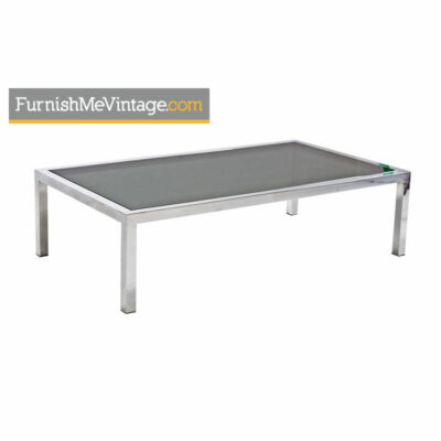 Milo Baughman Chrome Coffee Table - Aluminum and Smoked Glass