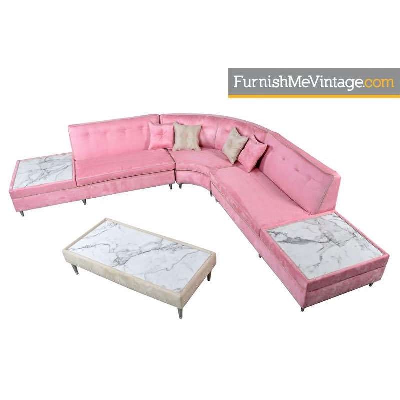 Restored Pink Microsuede Sectional Sofa & Coffee Table Living Room Set