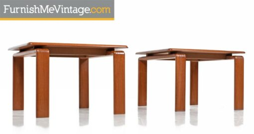 Pair of Solid Teak Scandinavian Modern Danish End Table with Floating Top circa 1970s