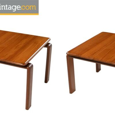 Pair of Solid Teak Danish Modern Floating Top End Tables, circa 1970s