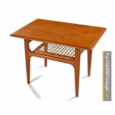 Trioh Danish Teak End Table With Weaved Cane Magazine Shelf