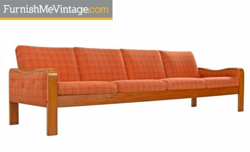 Vintage Original Scandinavian Bent Teak Plaid Wool Upholstered Sofa Couch, 1970s