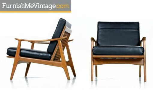 Sculpturelle Danish Lounge Chairs by Rubee Solid Beechwood Black Leather, 1960s