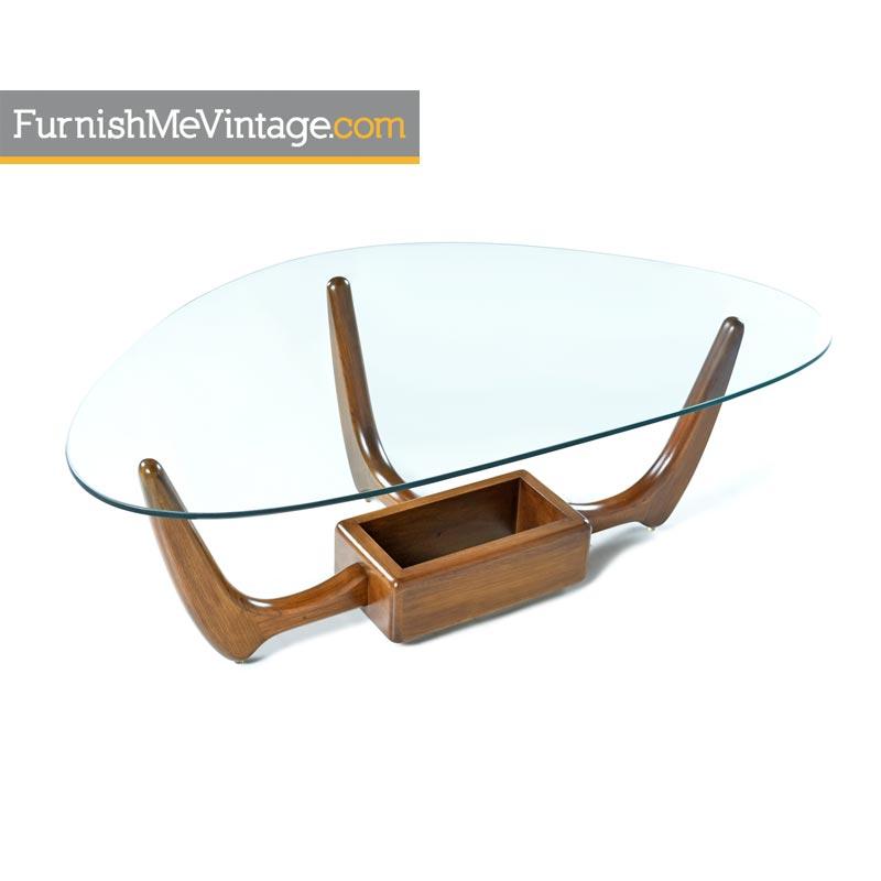 Adrian Pearsall Coffee Table Gl Top Planter Oak Danish Modern