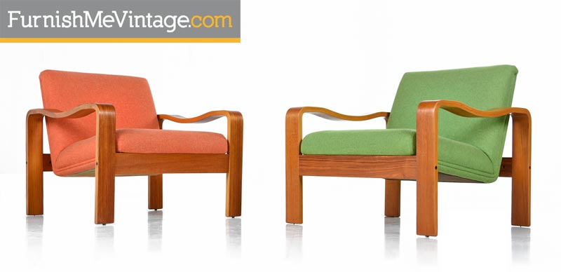Vintage , 1970s Original Scandinavian Bent Teak Wool Upholstered Lounge Chairs