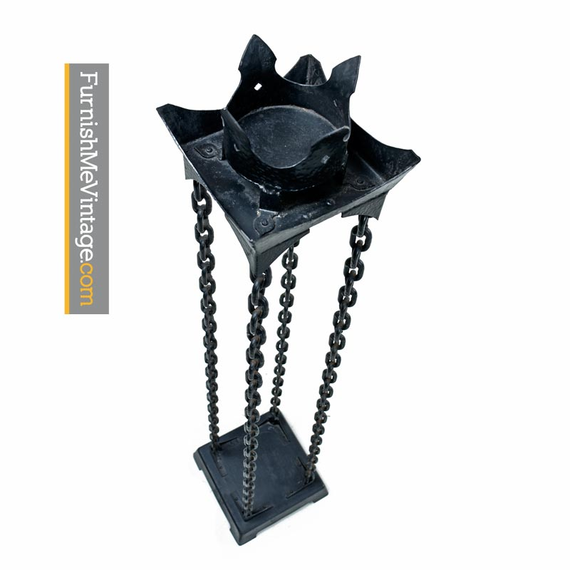 Pair Of Gothic Style Metal Chain Link Torchiere Candle Stands