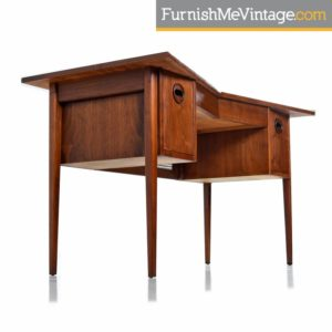 Restored Mid Century Scandinavian Modern Solid Walnut Top Bow Tie Desk