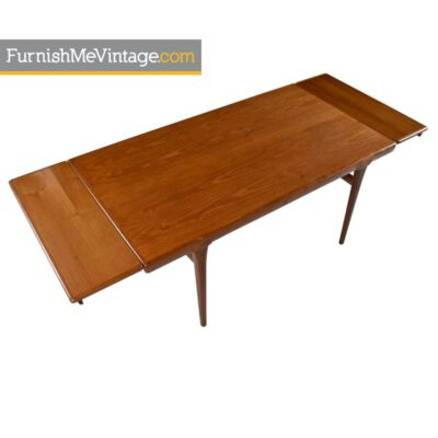 Draw Leaf Dining Table   Vintage Danish Modern Teak