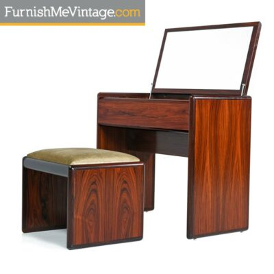 Vintage Danish Modern Rosewood Flip-Top Storage Vanity Desk and Stool Set