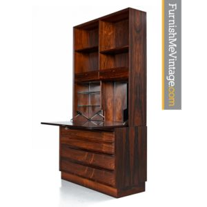 Danish Modern Rosewood Bookcase with Secretary Drawers