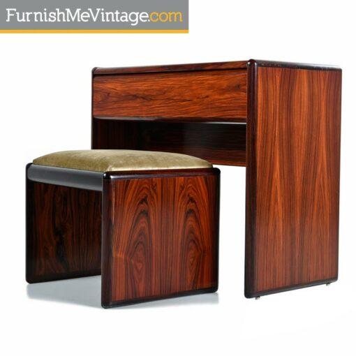 Danish rosewood vanity and gold velvet stool - Scandianvian Modern
