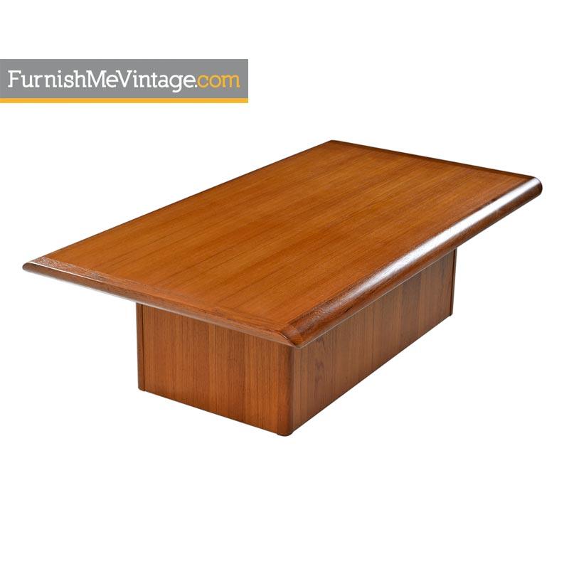 Vejle Stole Mobelfabrik Danish Teak Pedestal Base Coffee Table
