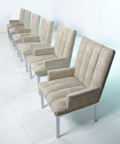 Design Institute of America Chrome Arm Chairs by Milo Baughman