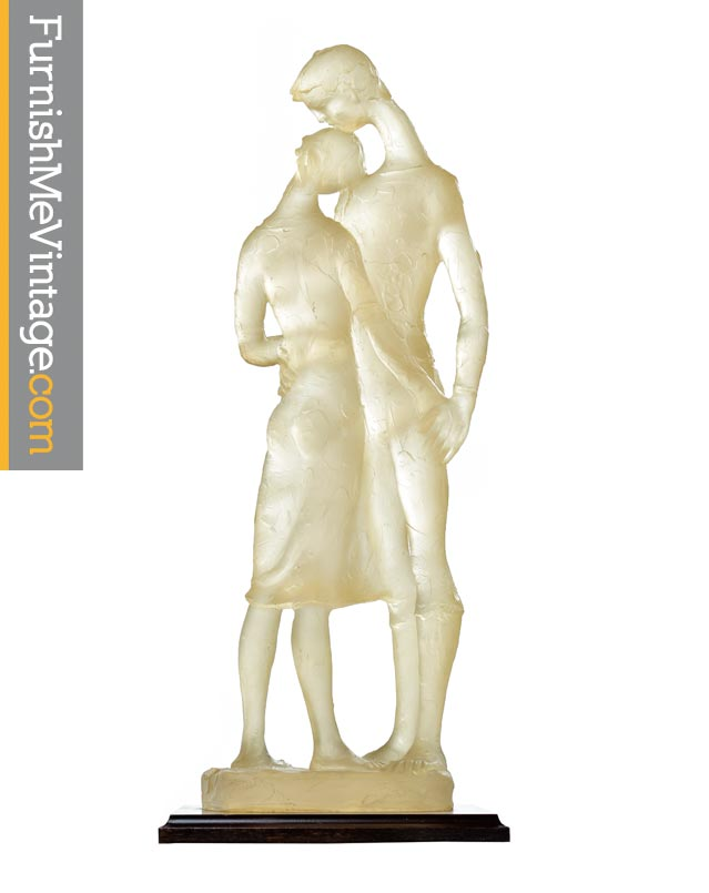 Signed modern acrylic clear resin lovers embrace figural